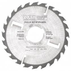 Industrial thin-kerf multi-rip saw blades with rakers