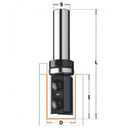 Straight router bits with indexable knives for laminates