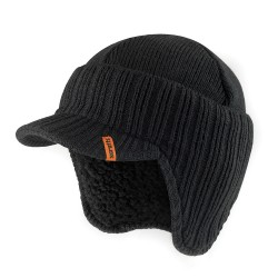 Peaked Knitted Hat Black